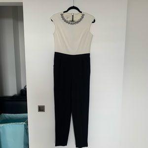 Ted Baker jumpsuit embellished cream black size 2